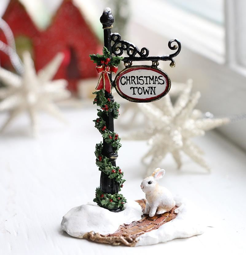 Christmas Town Sign Post A-49b by Wee Forest Folk