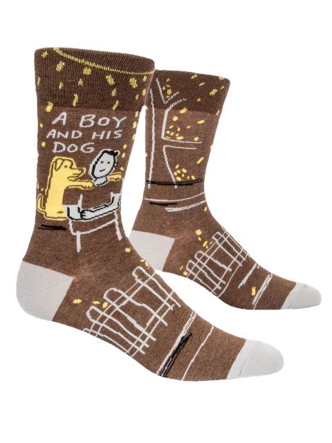 A Boy & His Dog Men's Crew Socks by Blue Q