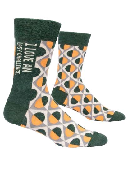 I Love Easy Challenge Men's Crew Socks by Blue Q