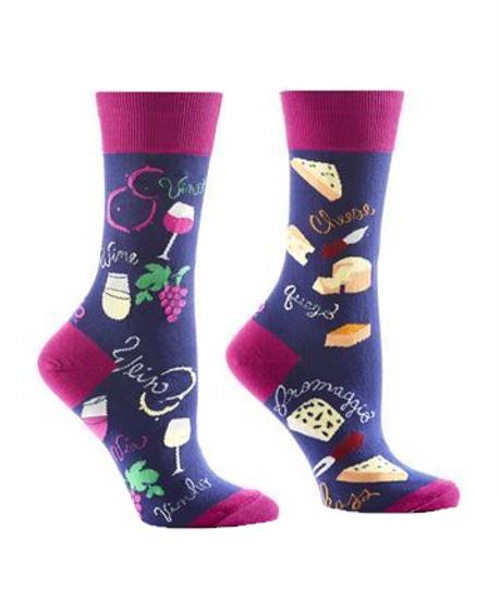 Wine & Cheese Women's Crew Socks by Yo Sox