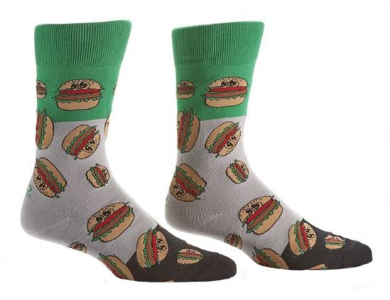 Happy Burger Men's Crew Socks by Yo Sox
