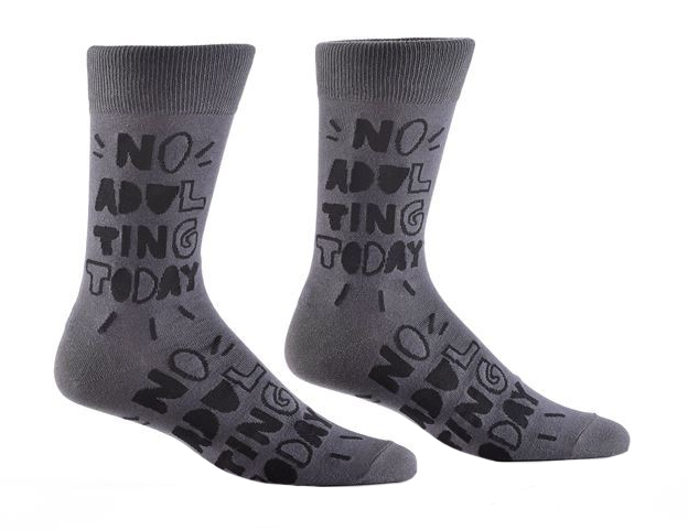 No Adulting Men's Crew Socks by Yo Sox