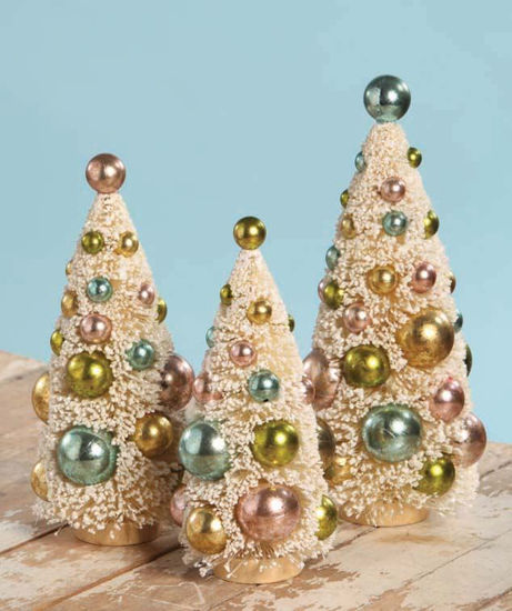 Multi Colored Pastel Bottle Brush Tree Set by Bethany Lowe Designs