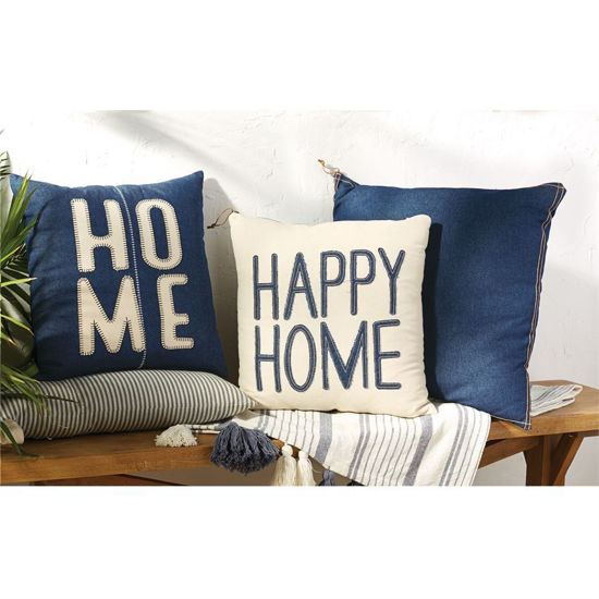 Home Denim Pillow by Mudpie