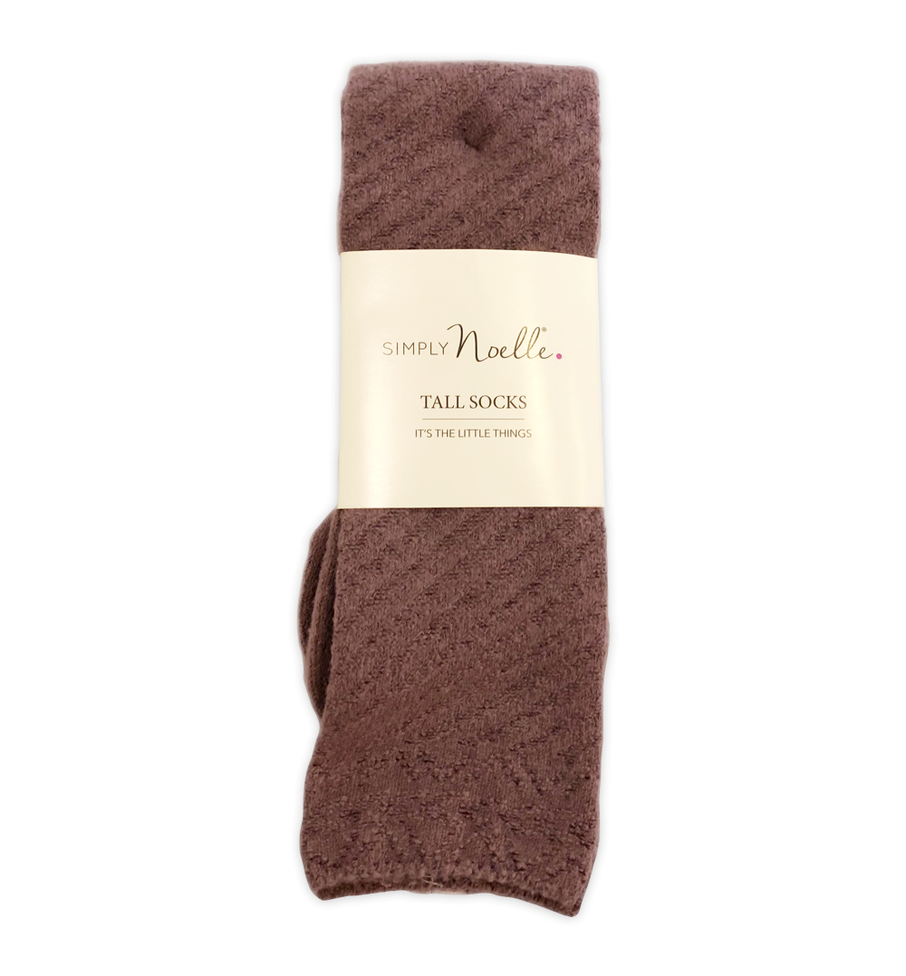 Cozy Coffee Shop Tall Socks (Mauve) by Simply Noelle