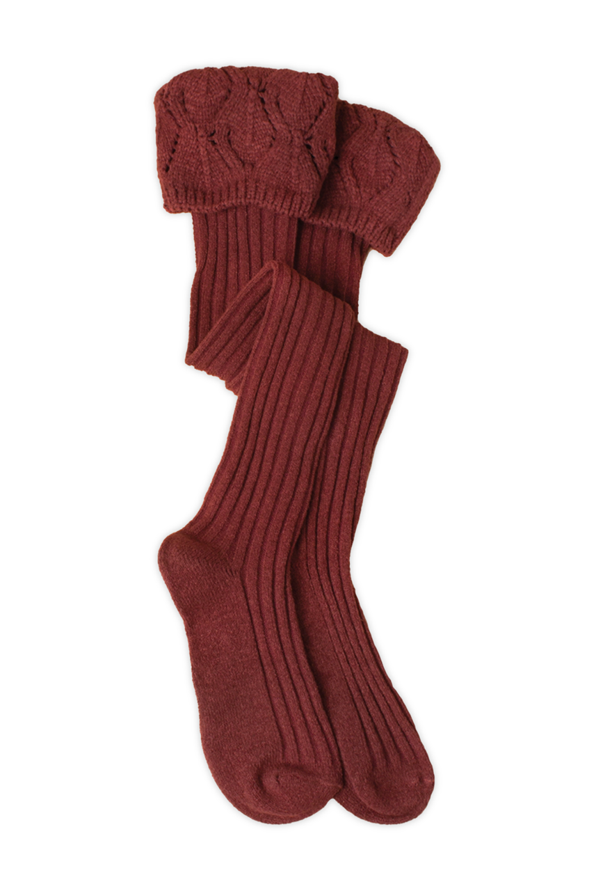 Needle Point Tall Socks (Burgundy) by Simply Noelle