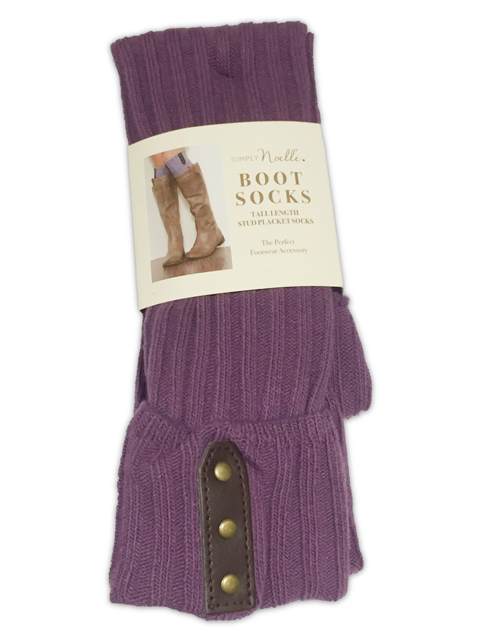 Tall Stud Placket Socks (Orchid) by Simply Noelle