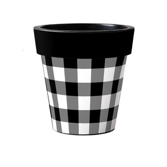 "Black and White Check 15"" Art Pot by Studio M"