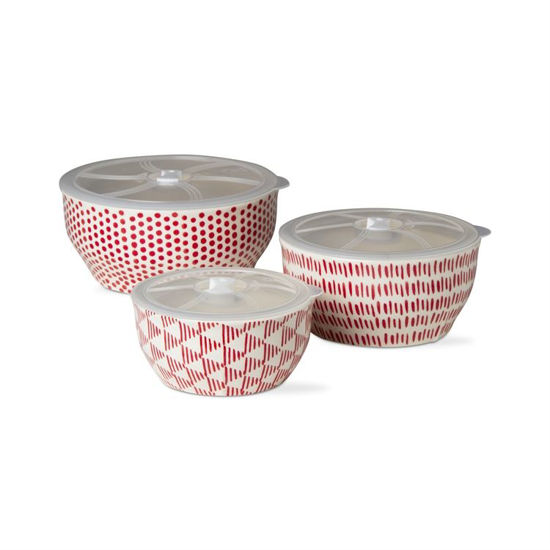 Dots and Dashes Lidded Bowl Set of 3 by TAG