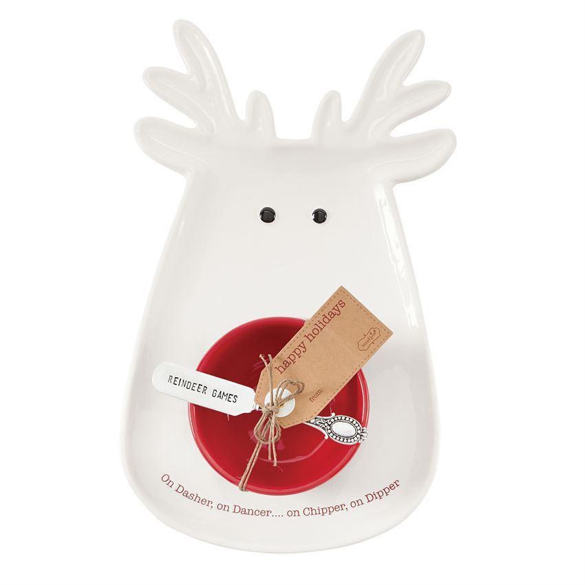Reindeer Chip & Dip Set by Mudpie