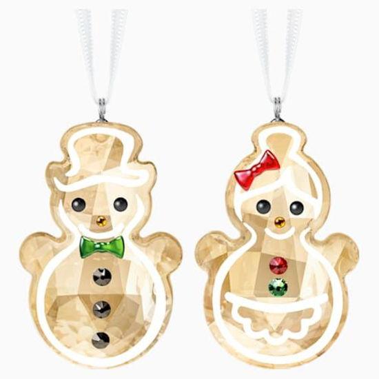 Gingerbread Snowman Couple Ornament Set by Swarovski