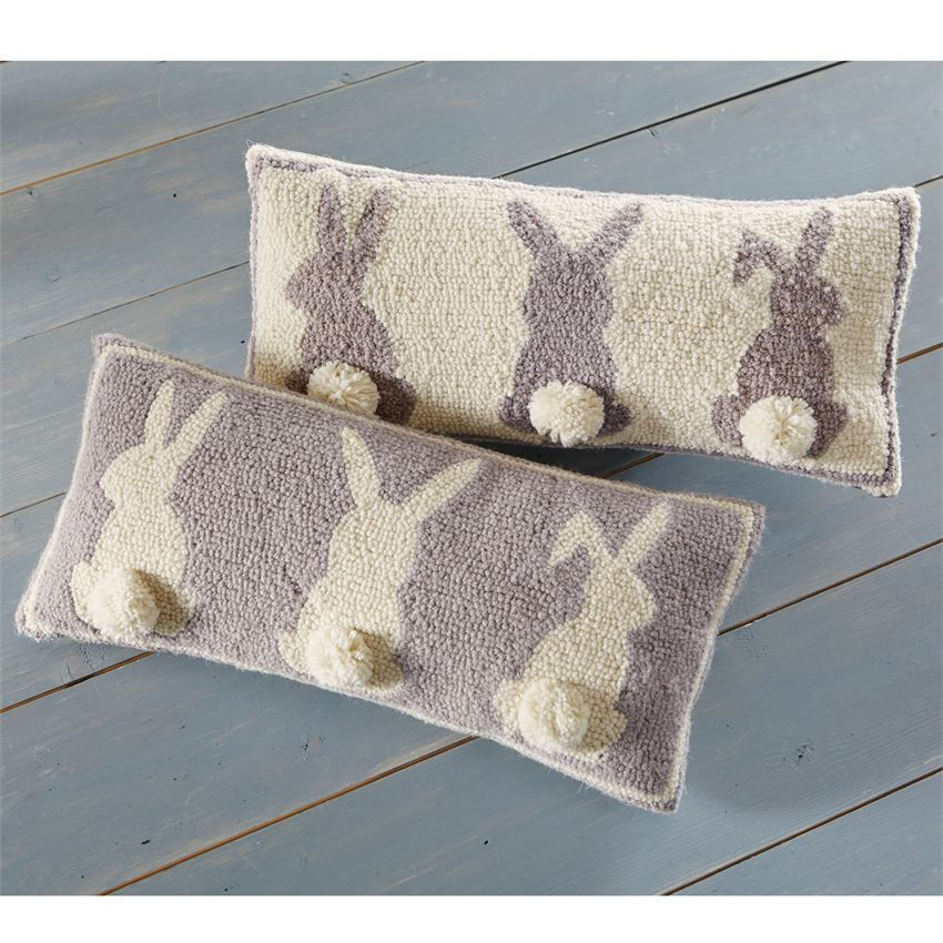 Triple Bunny Hooked Wool Pillow by Mudpie