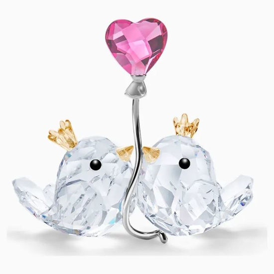 Love Birds Pink Heart by Swarovski