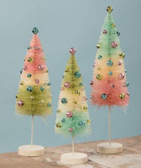 Pastel Confetti Bottle Brush Trees Set by Bethany Lowe Designs