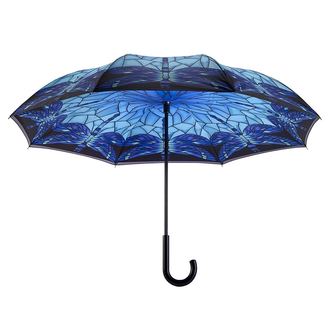 Stained Glass Dragonfly Stick Umbrella Reverse Close by Galleria