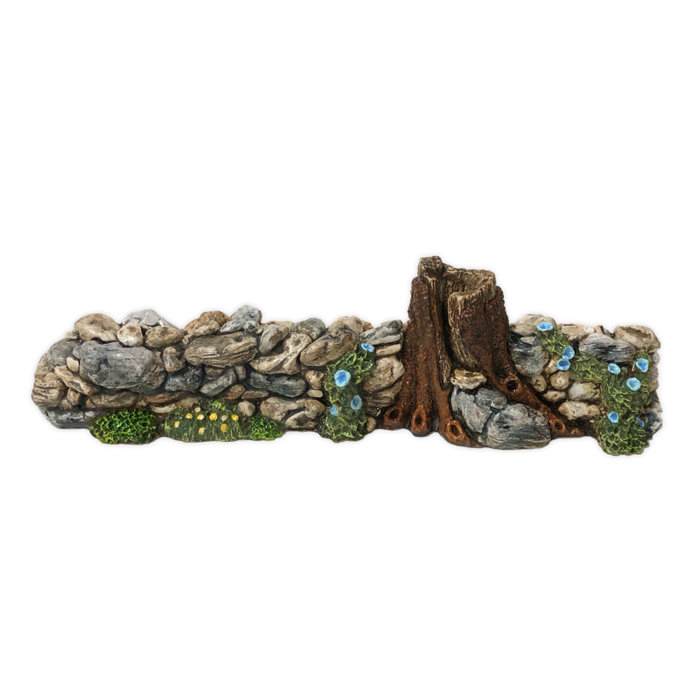 Rock Wall with Blue Flowers Displayer for Habitat Hideaway