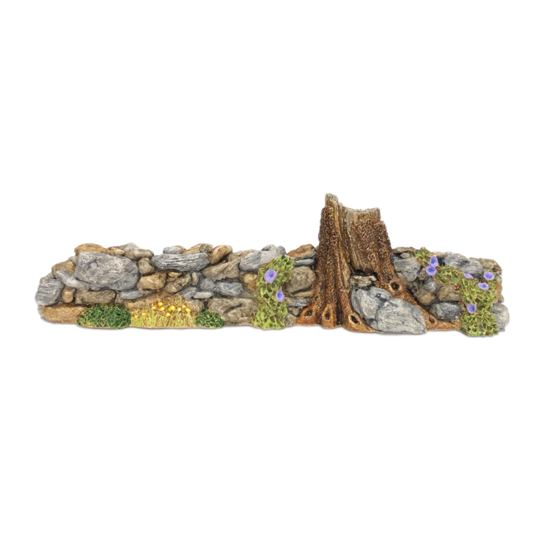 Rock Wall with Purple Flowers Displayer for Habitat Hideaway