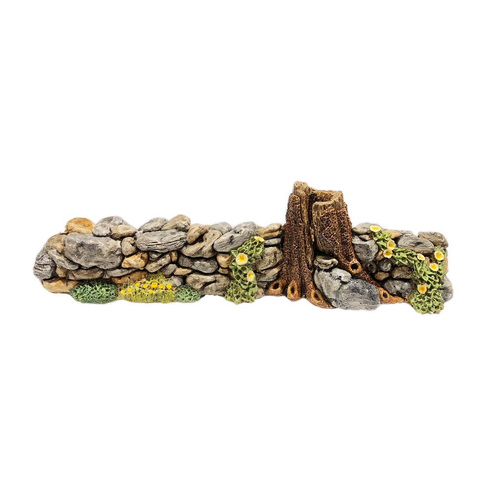 Rock Wall with Yellow Flowers Displayer for Habitat Hideaway