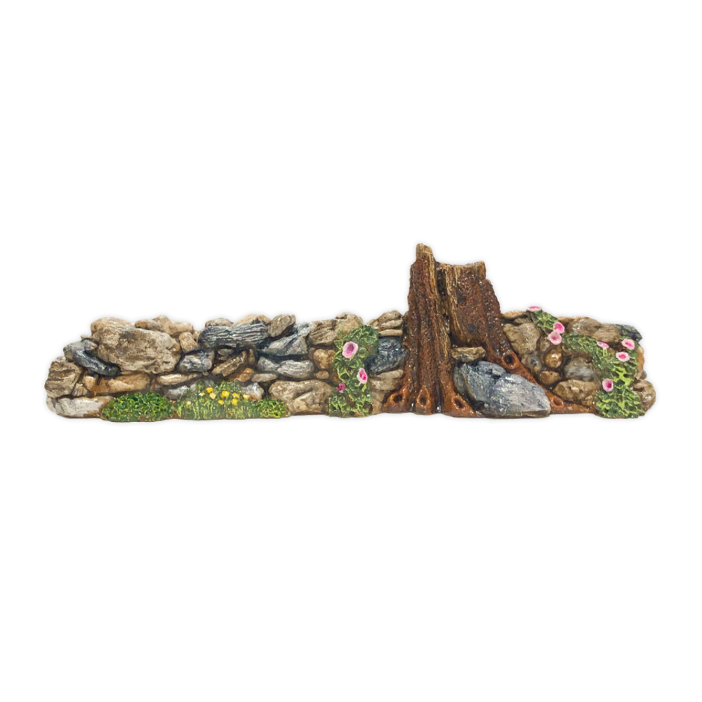 Rock Wall with Pink Flowers Displayer for Habitat Hideaway