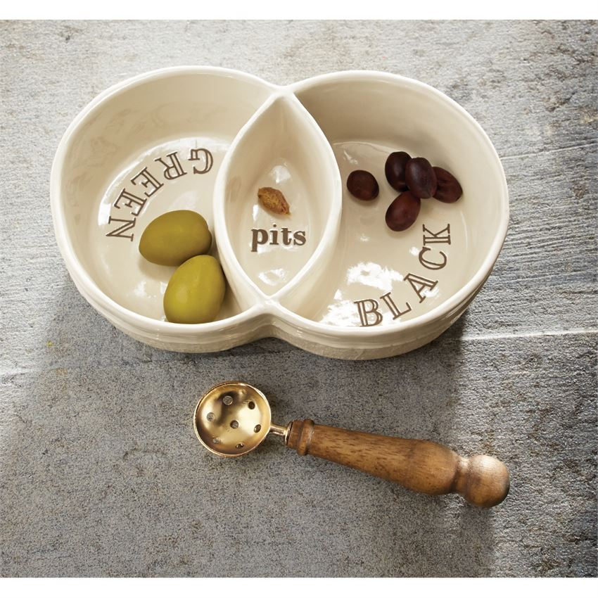 Sectioned Olive Boat Set by Mudpie