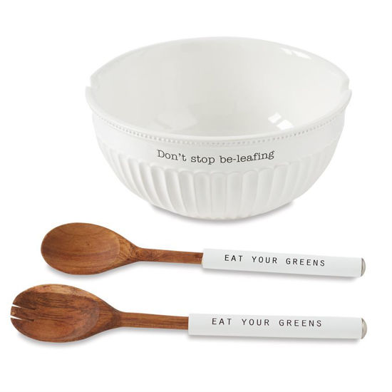 Don't Stop Be-Leafing Salad Bowl Set by Mudpie
