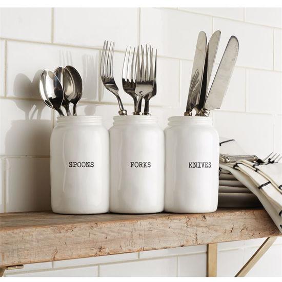 Triple Ceramic Jar Utensil Holder by Mudpie