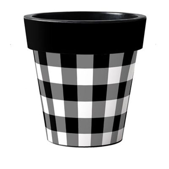 "Black and White Check 18"" Art Pot by Studio M"