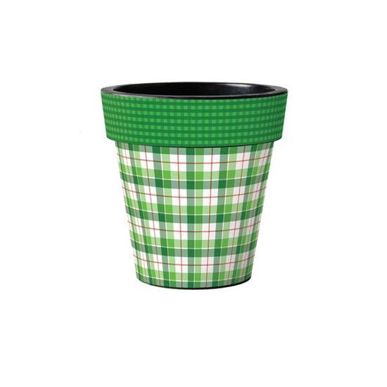 """Green and White Plaid 12"""" Art Planter by Studio M"""
