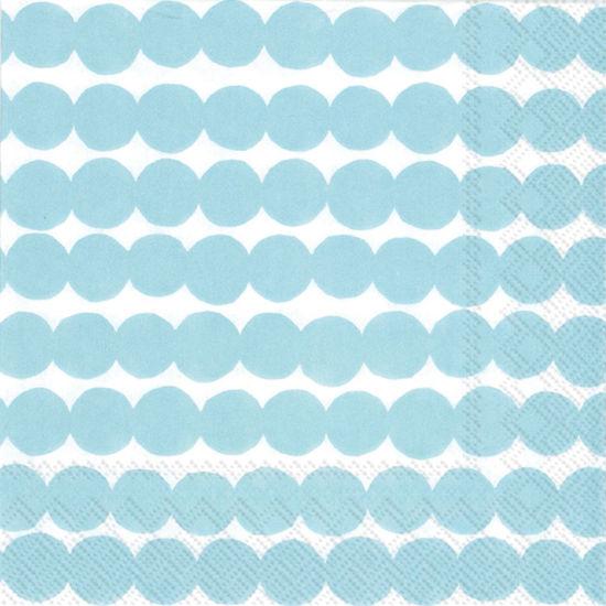 Marimekko Rasymatto White/Light Blue Luncheon Napkin by Boston International