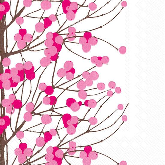 Marimekko Lumimarja White/Pink Luncheon Napkin by Boston International