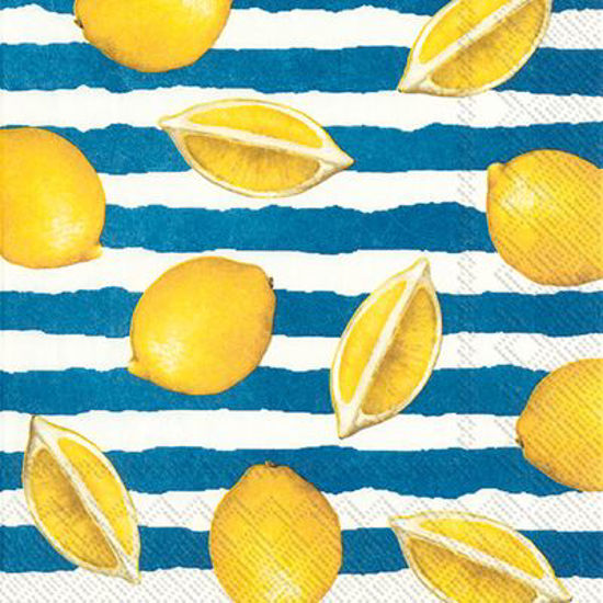 Summer Lemons Blue Cocktail Napkin by Boston International
