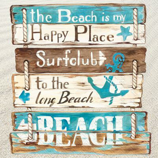 Happy Place At The Beach Cocktail Napkin by Boston International
