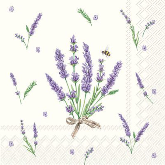 Bouquet of Lavender Cream Cocktail Napkin by Boston International