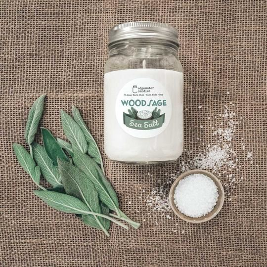 Wood Sage Sea Salt Jar by Edgewater Candles