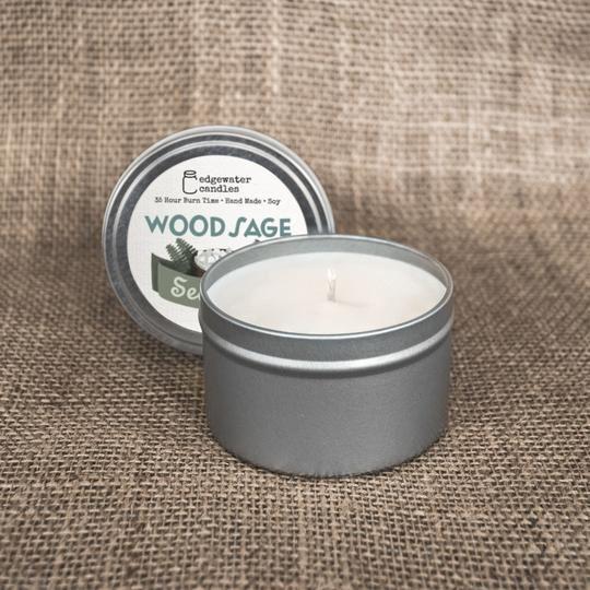 Wood Sage Sea Salt Travel Tin by Edgewater Candles