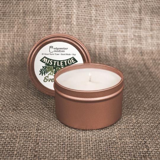 Mistletoe Evergreen Travel Tin by Edgewater Candles