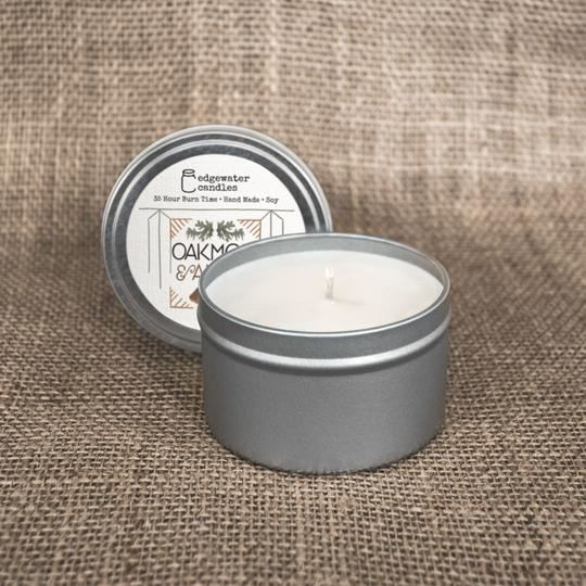 Oakmoss and Amber Travel Tin by Edgewater Candles
