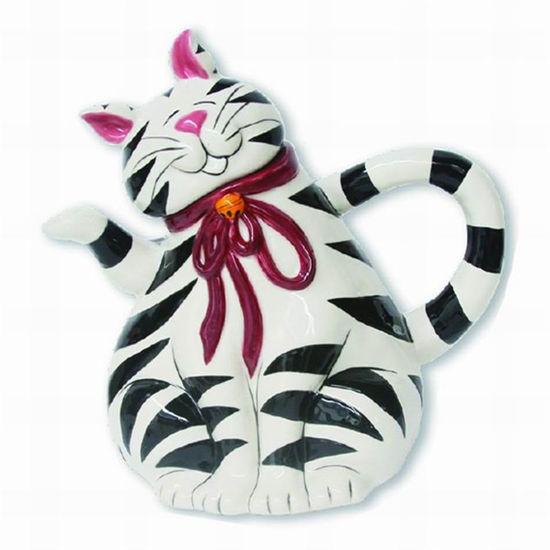 Cat Teapot - Black & White by Blue Sky Clayworks