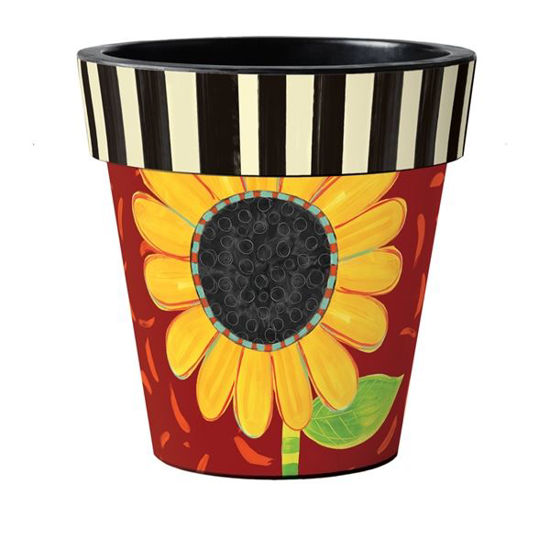 "Bold Sunflower on Red 18"" Art Pot by Studio M"