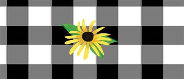 "Checks and Yellow Daisy 13"" Mini Art Pole by Studio M"