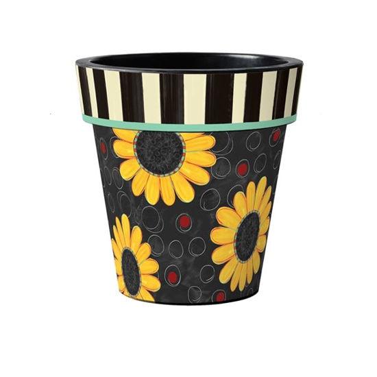 "Sunflower Toss on Black 15"" Art Pot by Studio M"