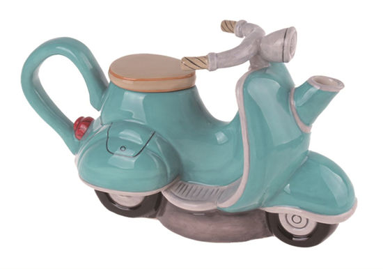 Green Motorcycle Teapot by Blue Sky Clayworks
