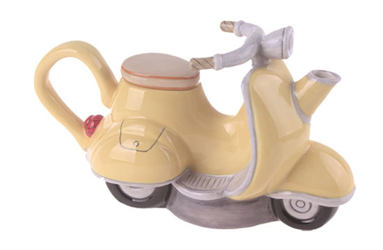 Yellow Motorcycle Teapot by Blue Sky Clayworks