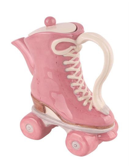 Pink Roller Skates Teapot by Blue Sky Clayworks