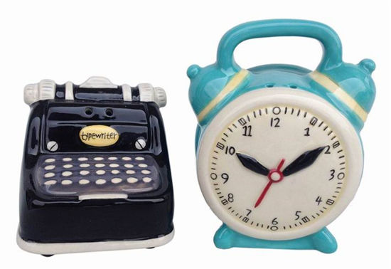 Typewriter and Clock Salt & Pepper Set by Blue Sky Clayworks