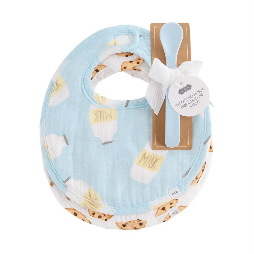 Blue Milk Muslin Bib & Spoon Set by Mudpie