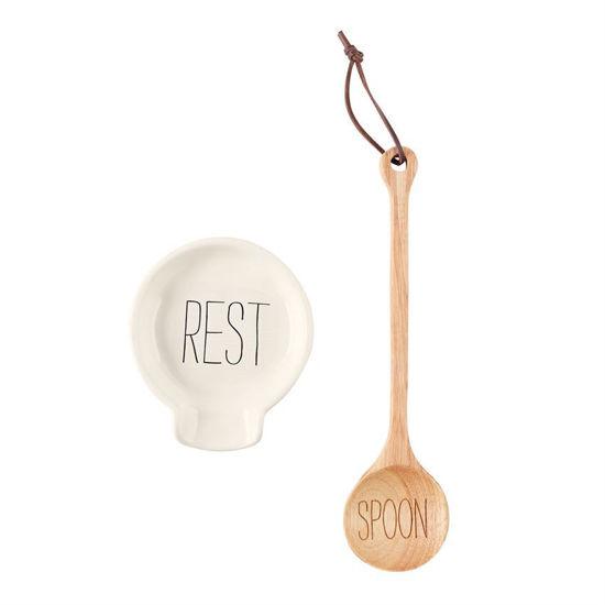 Wooden Spoon Rest Set by Mudpie