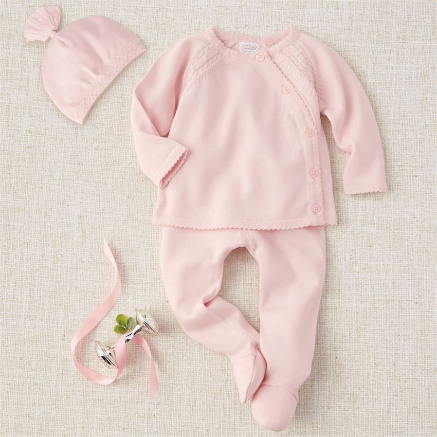 Pink Cable Knit Set (0-3M) by Mudpie