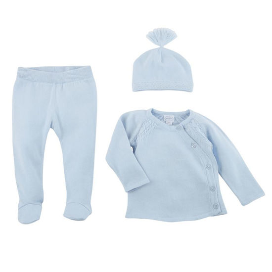 Blue Cable Knit Set (3-6M) by Mudpie