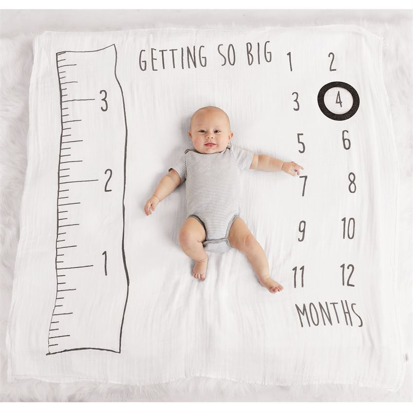 Muslin Watch Me Grow Photo Blanket by Mudpie